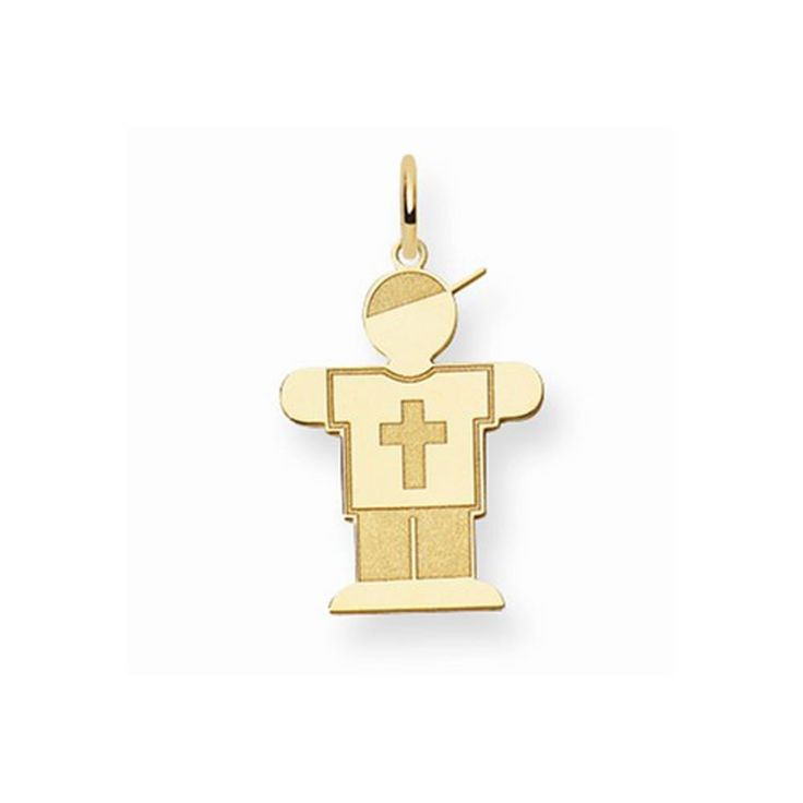 14K Yellow Gold Laser Cut Kid Boy in Cross Shirt Charm Pendant. Free Gift Box with Purchase. The Kids Collection. Free Shipping on Orders Over $50. 30 Day Money Back Guarantee.