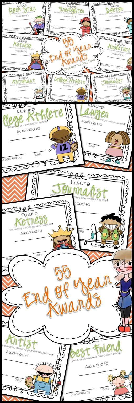 55 Colorful awards for the End of School. I love this style of kids for the certificates and I think your kids will, too!    The awards are made for both girls and boys. So, there will be an award for Future Rock Star with a boy graphic and one with a girl graphic. I love that they were made with your ink cartridge in mind. You won't find full color backgrounds on these awards.  $5    http://www.teacherspayteachers.com/Product/55-End-of-the-School-Year-AWARDS-featuring-BOTH-girls-and-boys