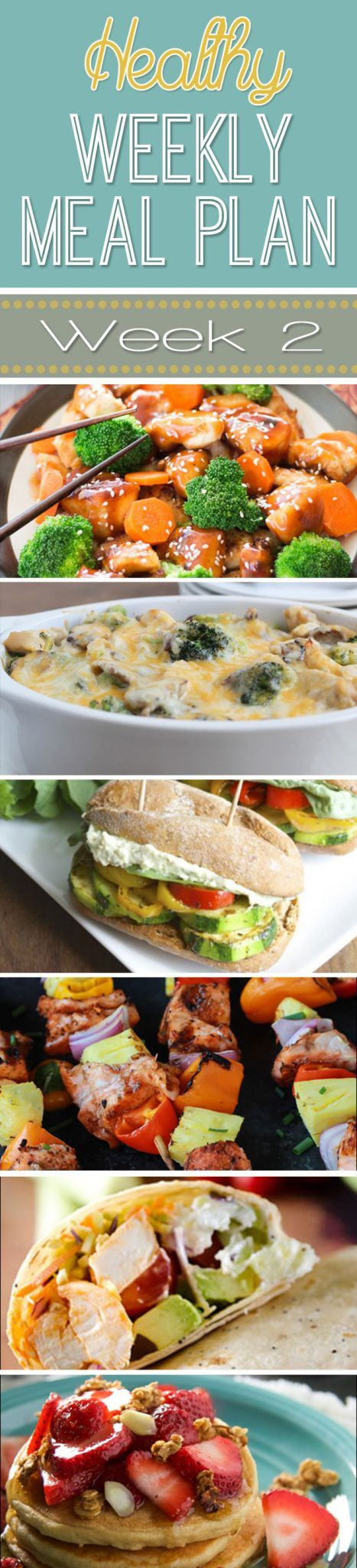 A delicious mix of healthy entrees, snacks and sides make up this Healthy Weekly Meal Plan for an easy week of nutritious meals your family will love!