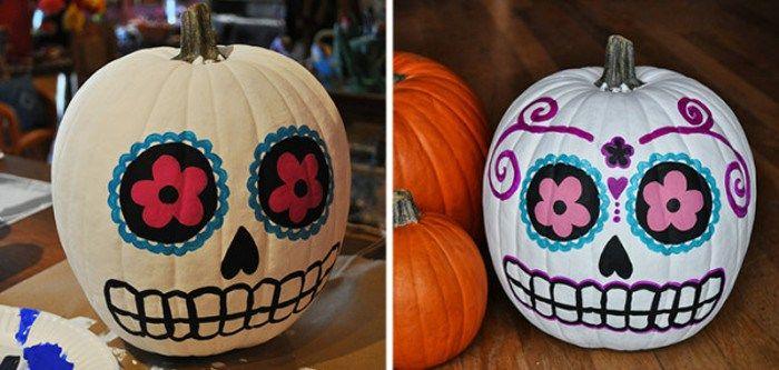 Ideas para decorar calabazas de Halloween: catrina (calavera mexicana)