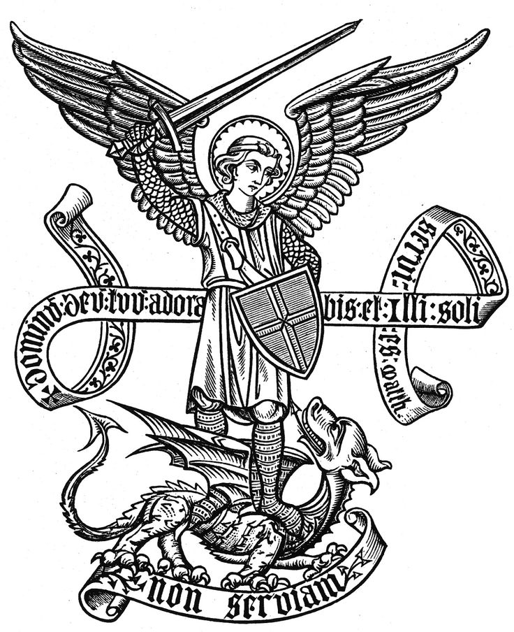Tattoo Saint Michael The Archangel Coloring Page