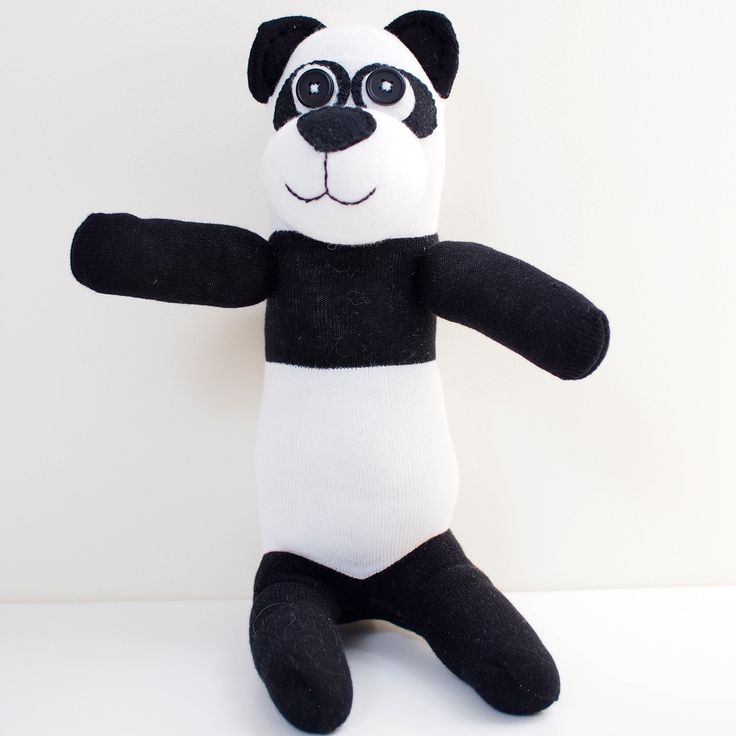 Sock Panda - Black & White - Sock Doll - Sock Toy by Handmadeley on Etsy