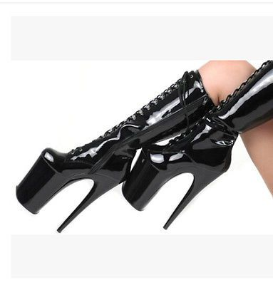 Womens Platform Super High Heel Stilettos Lace Up Pole Dancing Mid High Boots
