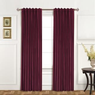 Luxury Collection Dupioni Silk Insulated Single Curtain Panel (81 inch – Burgundy), Red