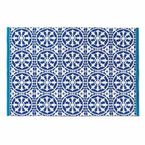 Outdoor-Teppich SANTORIN aus Stoff, 140 x 200cm, blau/weiß