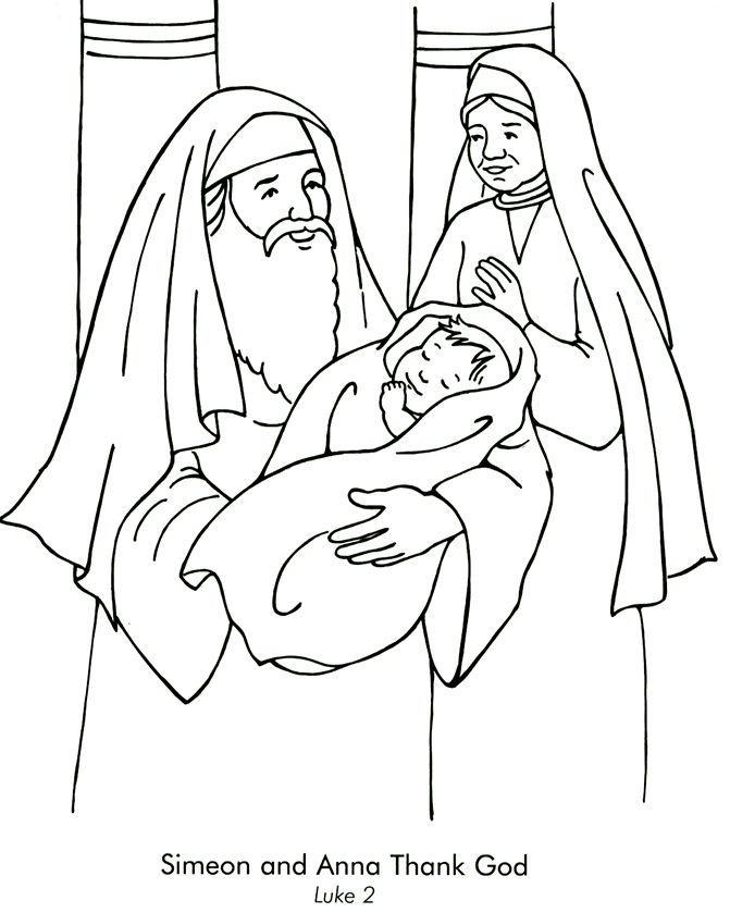 Simeon and Anna Coloring Page Luke 2 Lectionary Year C 1st Sunday in Christmas
