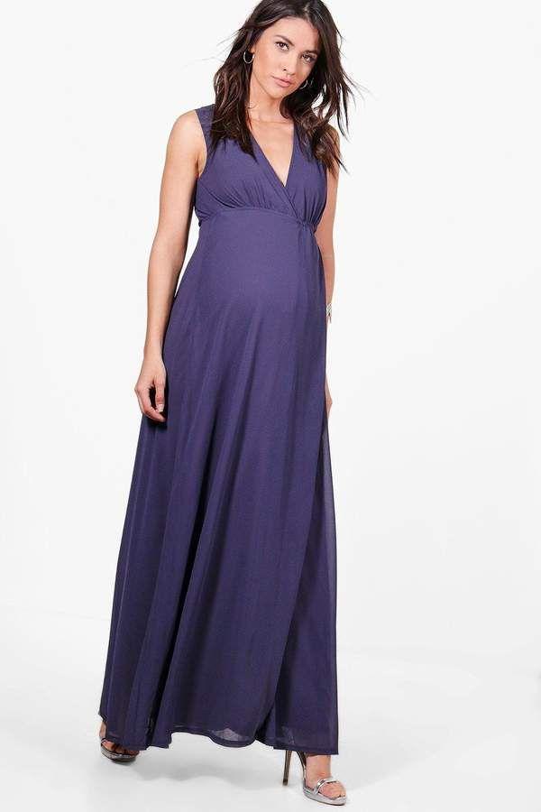 24e24ab30a7e6 Maternity Sara Maxi Dress With Deep V Neckline | d. G