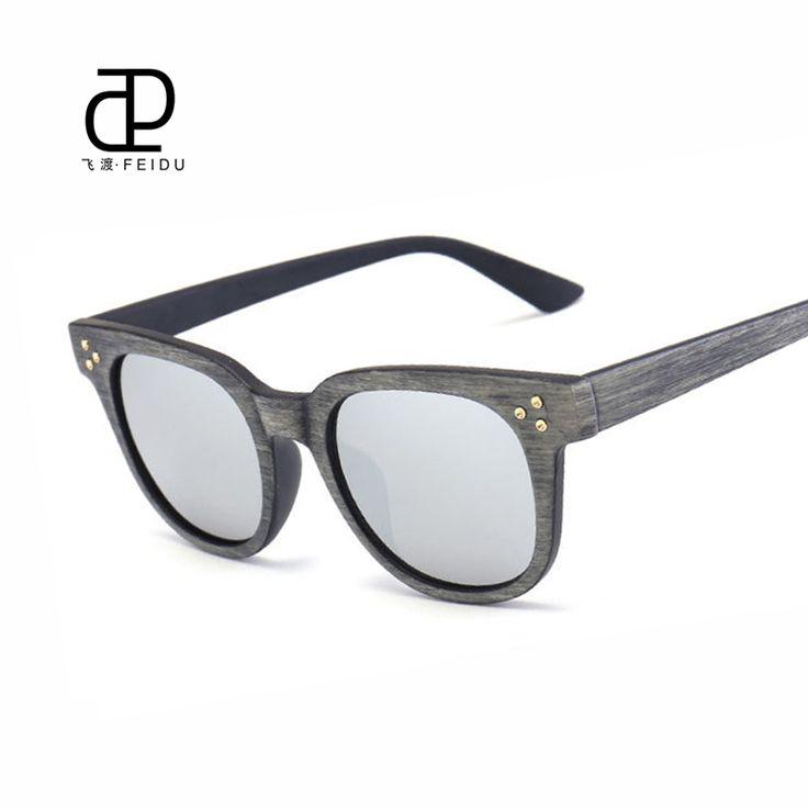 FEIDU 2016 New Arrival Square Wood Grain Sunglasses Women Brand Designer UV400 Mirror Driving Sun glasses Oculos De Sol Feminino