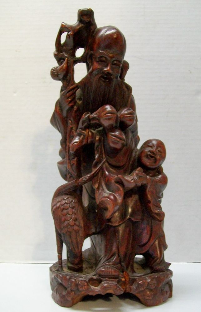 Vintage chinese hand carved wood wise man with staff for Wood in chinese