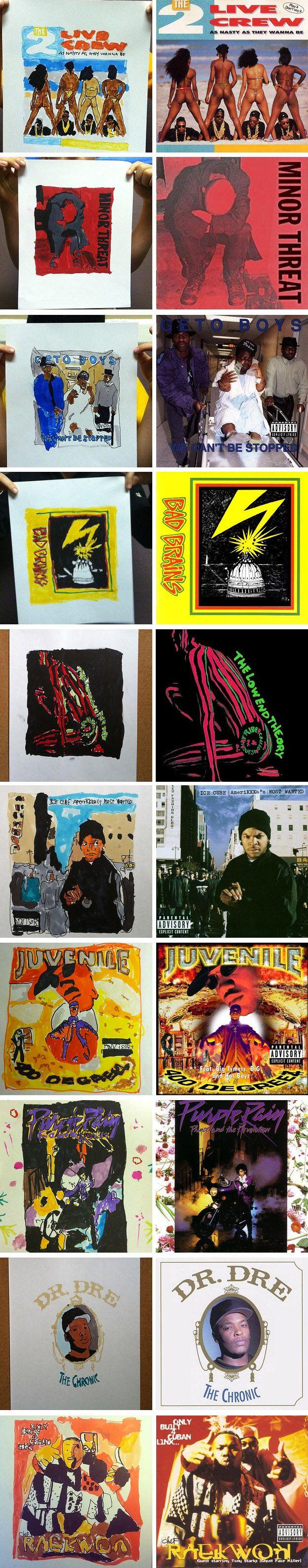 7-year old artist recreates classic album covers #art #albumcover #yunglenox