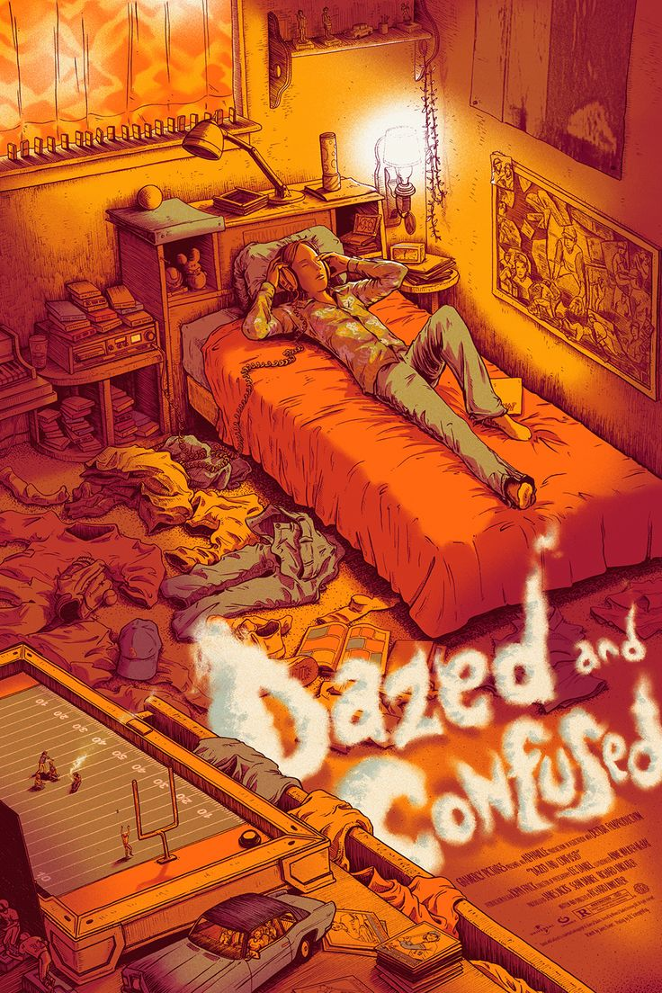 """Dazed and Confused by James Flames. 24"""" X 36"""" screen prints, numbered regular edition of 325 & variant edition of 150.   Part of the """"NO LONGER/NOT YET: A TRIBUTE TO RICHARD LINKLATER,"""" art show opening March 12th, 2016, at the MONDO GALLERY."""