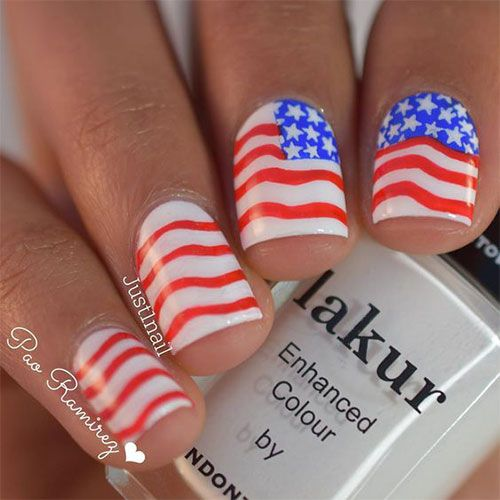 15+ American Flag Nageldesign & Ideen bis 2017   4. Juli Nägel - Nageldesign