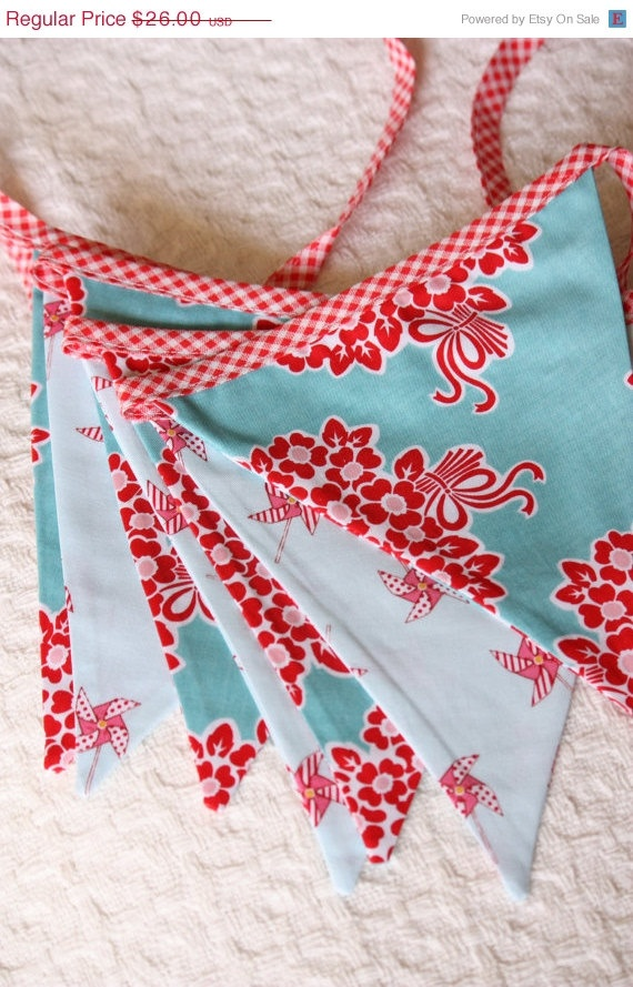 This would be cute in my kitchen!! 10% OFF SALE Aqua and Red Bunting Flags, Photography Prop, 7 Large Flags, Fabric Bunting. Ready to Ship.