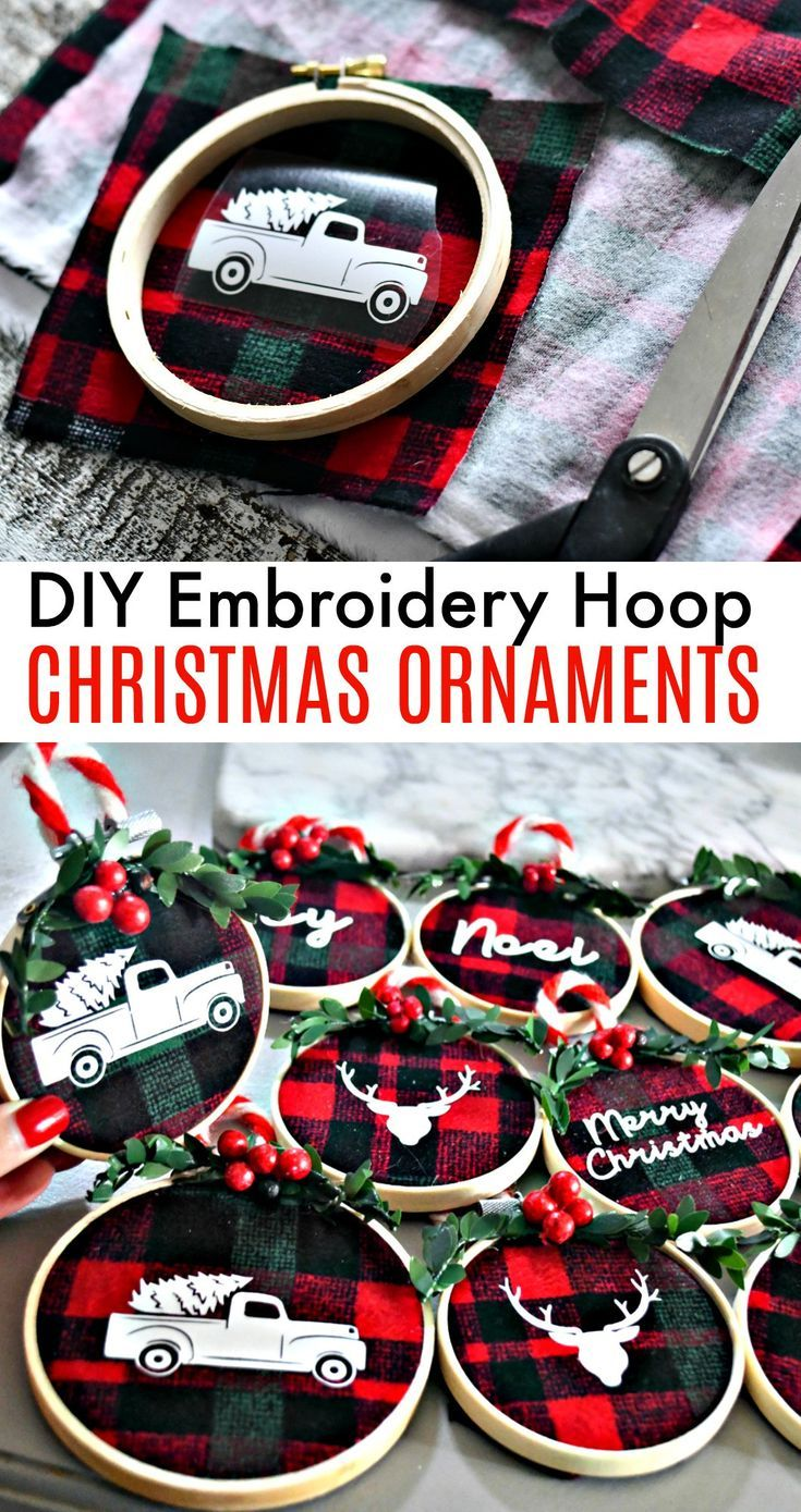 DIY embroidery frame Christmas decorations