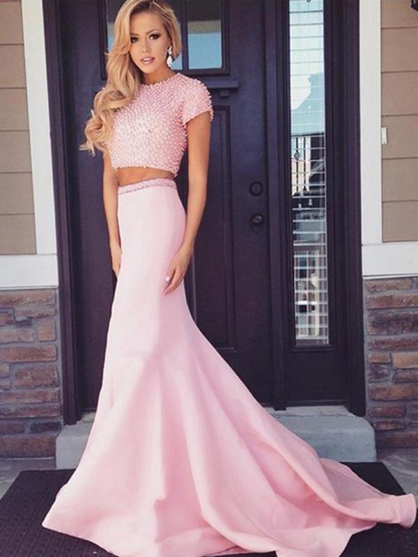 Sexy Pink Zweiteiler Abendkleid Satin Abendkleid Perlen Formelle Kleider A2610