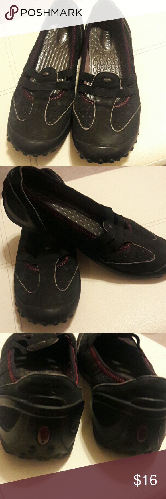 Privo by Clark's shoes - black suede uppers Very comfy walking shoes.  Good condition. 9 medium Clarks Shoes Sneakers