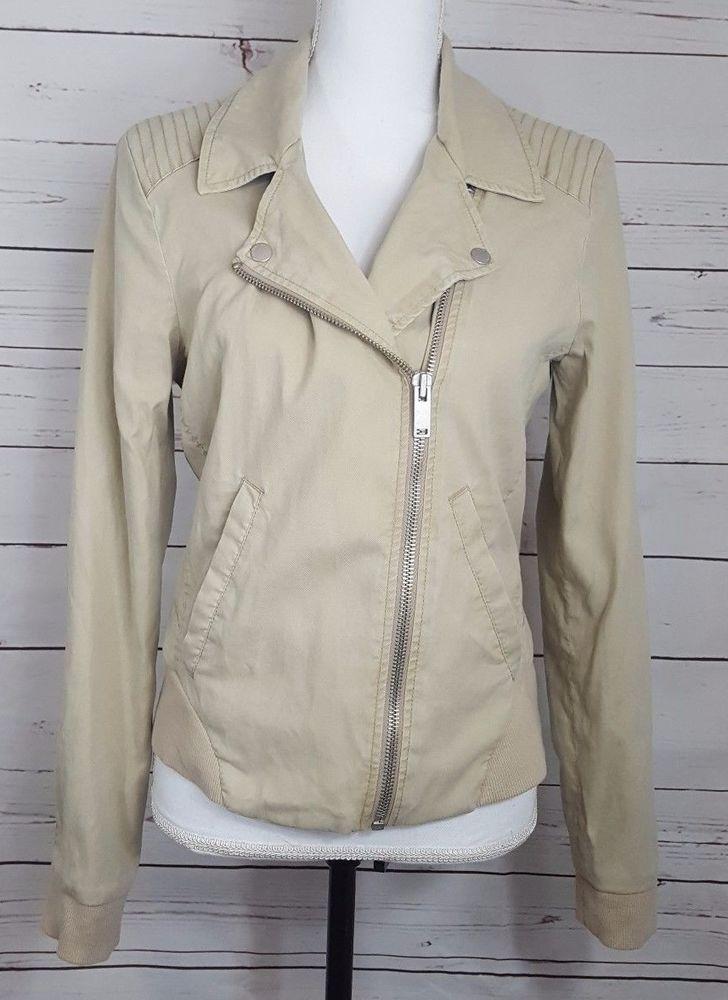 Calvin Klein Jeans Womens Motorcycle Style Jacket Lightweight Size Medium Beige #CalvinKleinJeans #Motorcycleinspired #jacket #coat #fashion #style #womensfashion #ckjeans