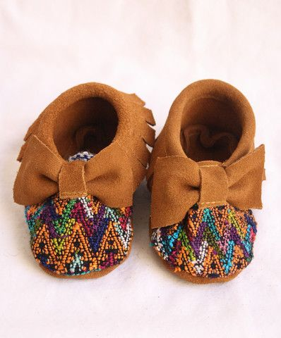 Bow Suede and Huipel Baby Moccasins-Luz