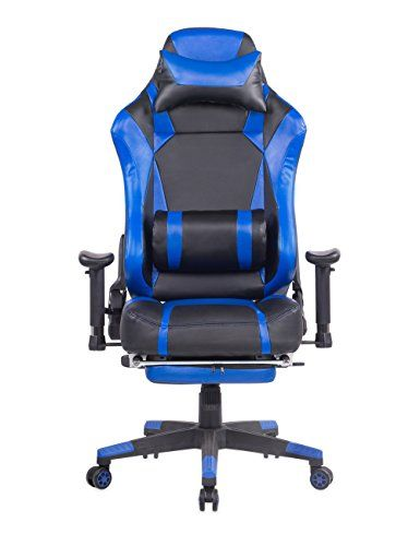 Large Gaming Chair With Footrest Ergonomic Reclining Computer Chair High  Back Swivel Executive Office Chair, Headrest And Lumbar Support Desk Chair (Blue)