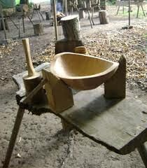 Bowl making in progress.  The three angled supports on the bench hold the bowl steady even if it is irregular in shape.
