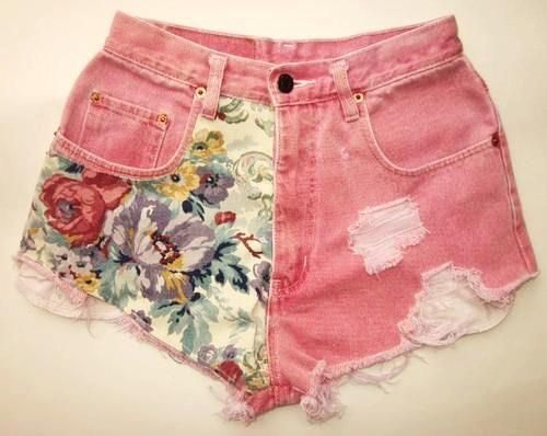 : Pink Shorts, Floral Prints, Floral Shorts, Flowers Prints, Denim Shorts, Jeans Shorts, Summer Shorts, Diy Projects, High Waist Shorts