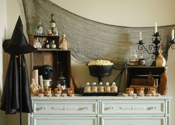 Spooky in a lovely way - via Hostess with the Mostess Toil-N-Trouble-Snack-Table-Full-View