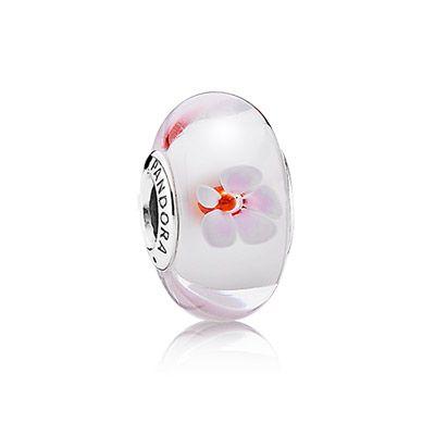 PANDORA | Zilveren charm - kersenbloesems van roze en wit Murano glas