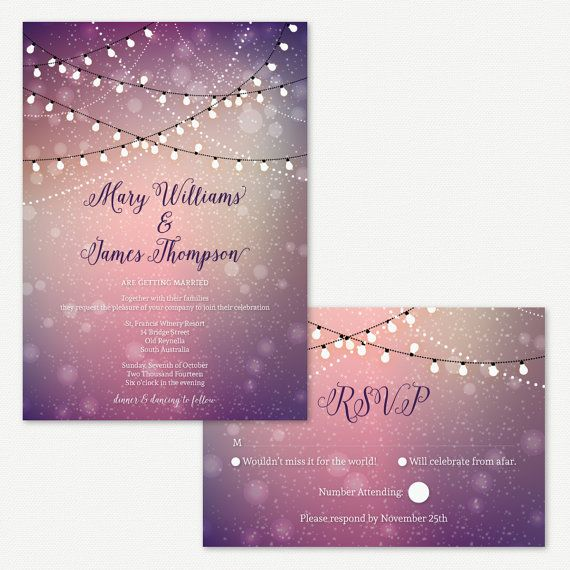 Wedding Invitations Twinkle Lights Outdoor Wedding Fairy Lights