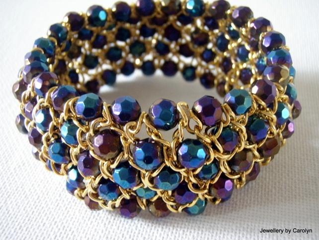 Rainbow Crystal and Chain Cuff Bracelet - Folksy