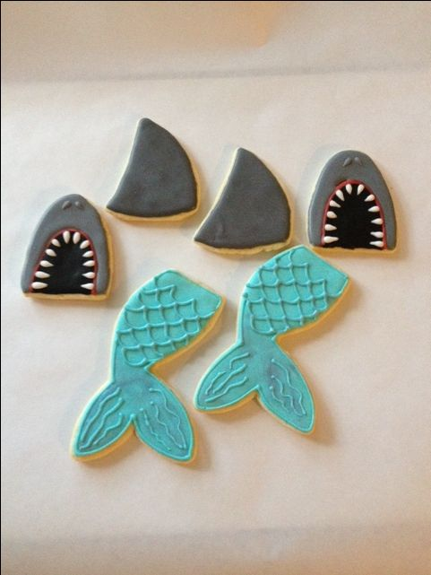 Sharks, fins and mermaid tails for birthday party (6-2016)