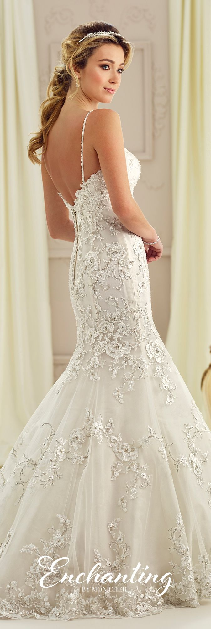 Enchanting by Mon Cheri Fall 2017 Collection - Style 217124 - sleeveless lace trumpet wedding dress with hand-beaded spaghetti straps