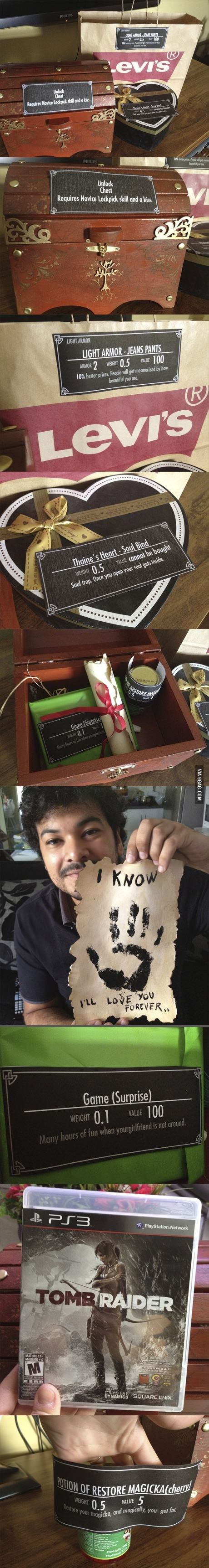 Skyrim addicted boyfriend: 7 years dating anniversary gift… i hope i do something like that to mi girlfriend some day witch game should a pick to make reference?