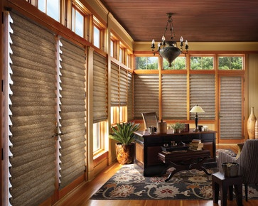 Vignette Tiered with LiteRise modern roman blinds