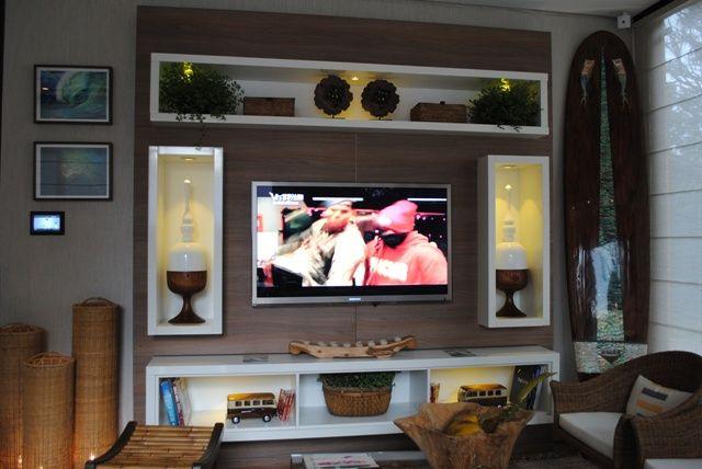 Tv Lcd Na Parede Da Sala ~ painel tv na parede toda com nichos  Pesquisa Google  paredes