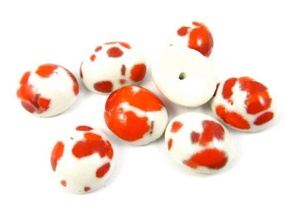 6 - 10x8mm Vintage Oval Ceramic Cabochons - Red and White