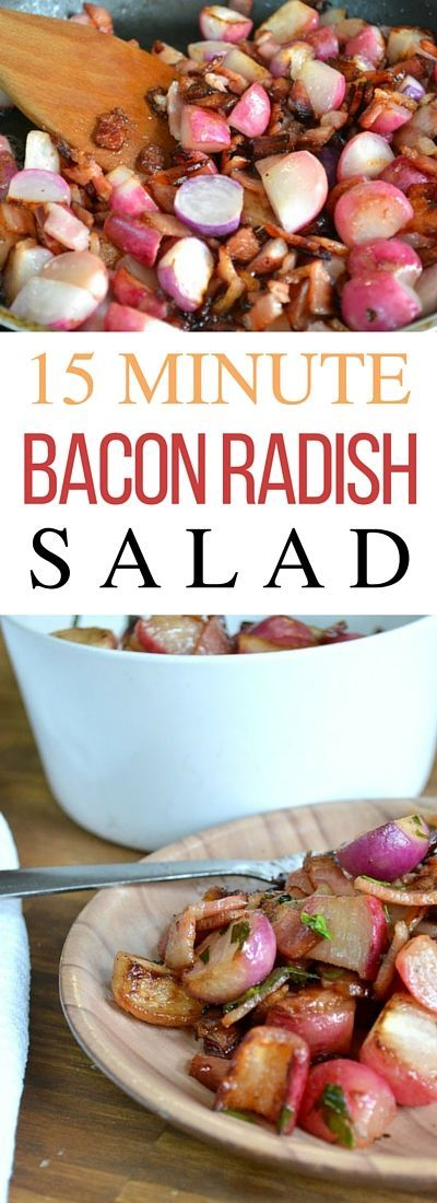 This easy bacon and radish salad recipe that pairs perfectly with sandwiches, soups, or even chicken. Radishes cooked up wth bacon is a great way to introduce your family (and me!) to an otherwise under-appreciated veggie!