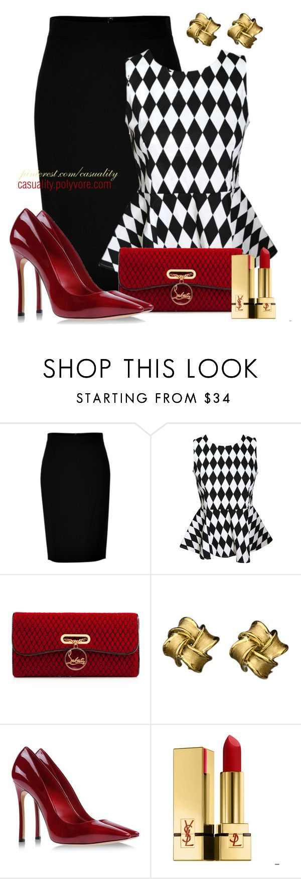"""""""Black & White Checkered Peplum"""" by casuality ❤ liked on Polyvore featuring DKNY, Christian Louboutin, Lynn Chase, Casadei and Yves Saint Laurent"""