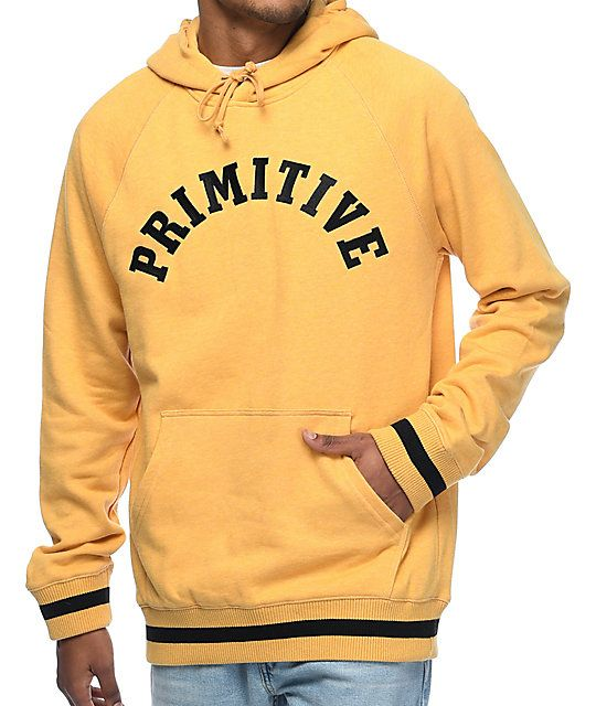 Get university styling with a touch of street edge in the Ivy League heather gold hoodie from Primitive. With classic features, this pullover sweatshirt is adorned with a black arch logo graphic embroidered across the chest and sport stripe detailing at t