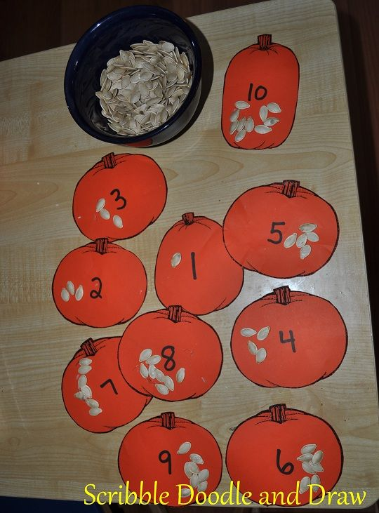 Practice counting by placing the correct number of pumpkin seeds onto the numbered pumpkins