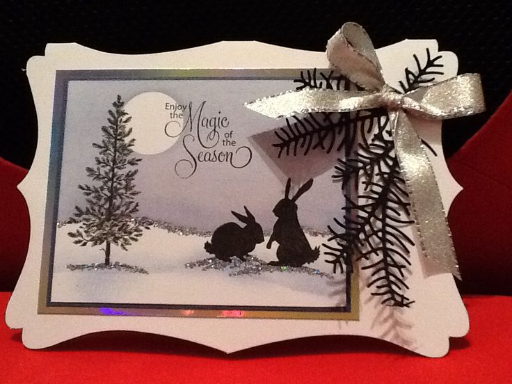 Handmade Christmas card using Lavinia Stamps bunnies, Stampin' Up tree and Memory Box die.