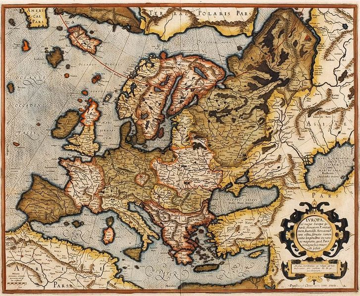 16th century map of Euorpe