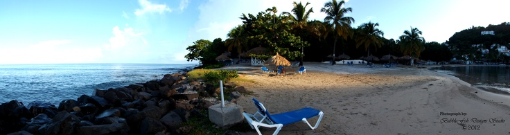 Panoramic Wind Jammer Landing Resort Point in the morning time.    Rodney Bay, St. Lucia, WI