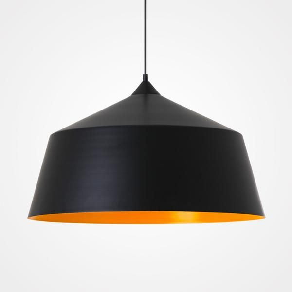 Made from metal and finished in Matt black with a orange/yellow interior.Clean simple lines to complement any space, Perfect over a dining table, in a hallway o