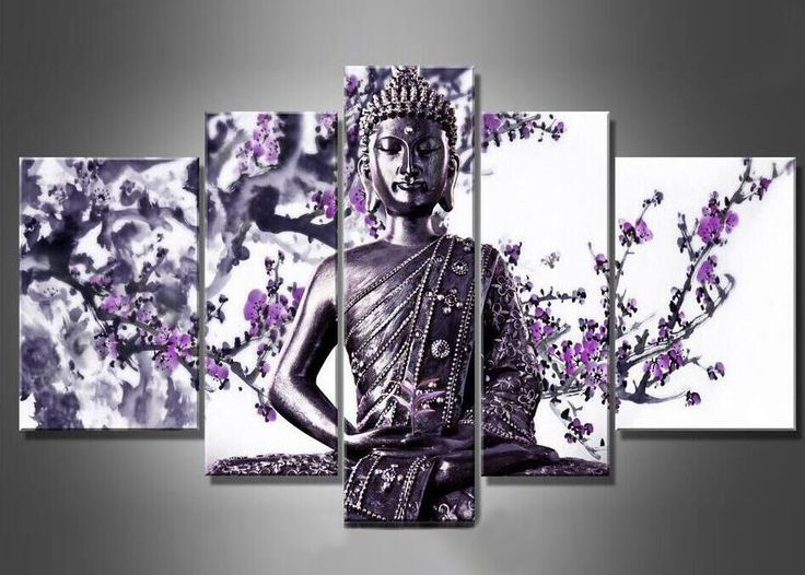 5 Pieces No Frame Modern Buddha Flower Oil Paintings On Canvas Purple Flower Art Buddha Wall Paintings