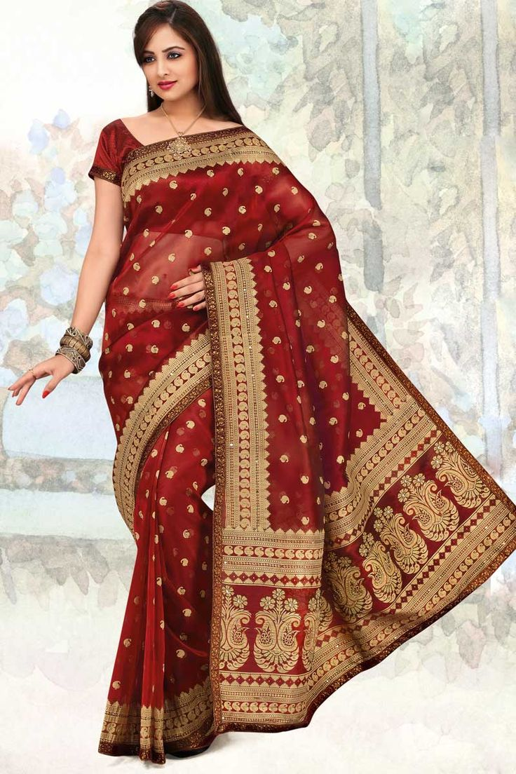 Carnelian Red Organza Silk Embroidered Party and Festival Saree