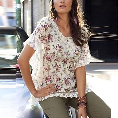S-3XL Womens Floral Lace Crochet Batwing Sleeve T-shirt Tops Blouse Plus Size…