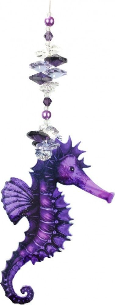Handcrafted purple metal and crystals seahorse suncather @ justlikeleadlight.com.au/suncatchers/marine#container