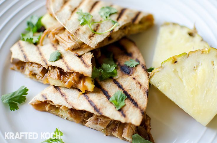 Crock Pot BBQ Chicken and Pineapple Quesadillas