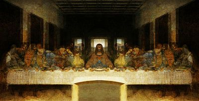 this is the last supper by Leonard da Vinci(1495-98). it was painted on the wall of the dining hall in the monastery of Santa Maria della Grazie, in Milan, Italy.
