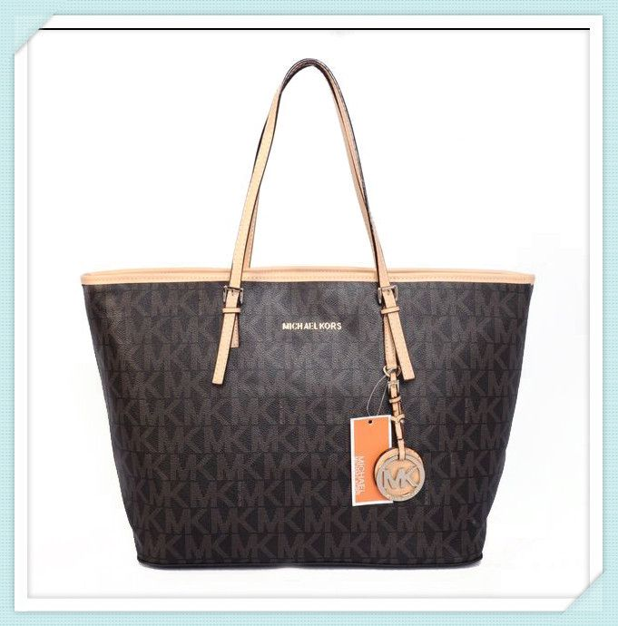 Michael Kors Jet Set Logo Large Brown Totes : Michael Kors Outlet,